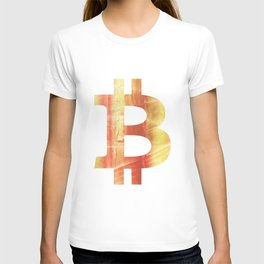 Bitcoin Red Yellow colorful watercolor texture T-shirt