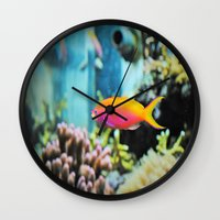 the life aquatic Wall Clocks featuring Life Aquatic by JustAlly