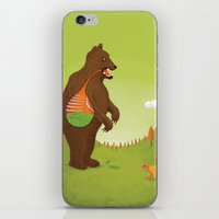 vegetarian iPhone & iPod Skins featuring The Vegetarian Bear by How Far From Home