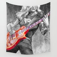 rock n roll Wall Tapestries featuring rock by BzPortraits