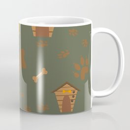Seamless Dog Pattern with trail and doghouses Coffee Mug