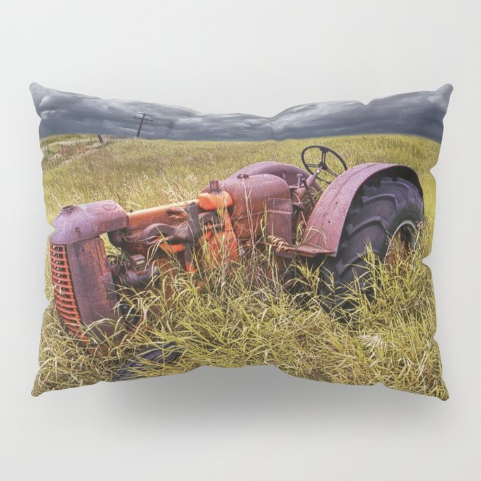 Abandoned Farm Tractor on the Prairie Pillow Sham