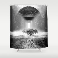 tree of life Shower Curtains featuring Life Tree by Murat Erturk