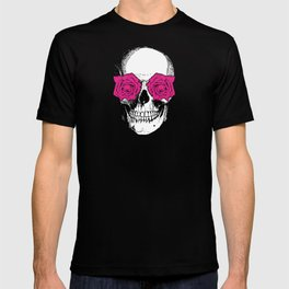 Skull and Roses   Yellow and Pink T-shirt