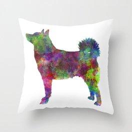 Norwegian Buhund dog in watercolor Throw Pillow