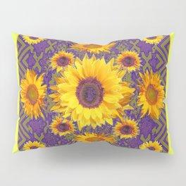 Gold Color & Yellow Sunflowers Garden Purple Pattern Art Pillow Sham