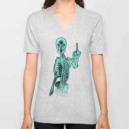 X-ray Bird / X-rayed skeleton demonstrating international hand gesture Unisex V-Neck
