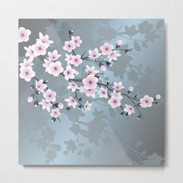 Dusky Pink Grayish Blue Cherry Blossom Metal Print
