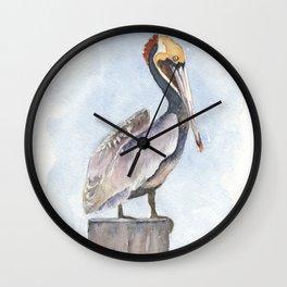 Pelican on a Perch Watercolor Art by Liz Ligeti Kepler Wall Clock