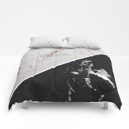 White Glitter Marble Meets Black Marble #1 #decor #art #society6 Comforters