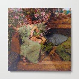 """Sir Lawrence Alma-Tadema """"In a Rose Garden"""" Metal Print"""
