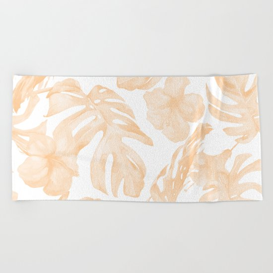 Island Vacation Hibiscus Palm Leaf Coral Apricot Orange Beach Towel