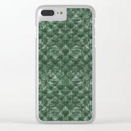 Quilted Forest Green Velvety Pattern Clear iPhone Case