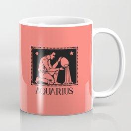 Aquarius Vintage Zodiac on Living Coral Coffee Mug