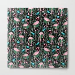 Flamingo Ferns Tropical Art Deco Black Pink Pattern Metal Print