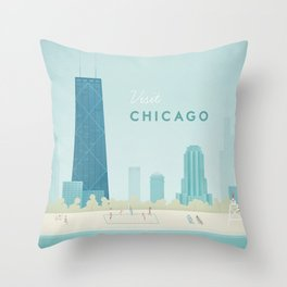 Vintage Chicago Travel Poster Throw Pillow