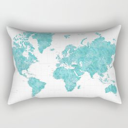 Highly detailed watercolor world map in aquamarine Rectangular Pillow