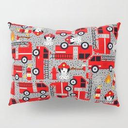 Kids Firetruck Dalmatian Dog Firefighter Pattern Gray Pillow Sham