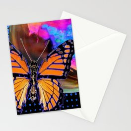 ORANGE MONARCH BUTTERFLY & SOAP BUBBLE IN BLUE OPTICAL ART Stationery Cards