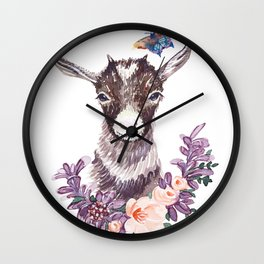 Baby head goat watercolor. Wall Clock