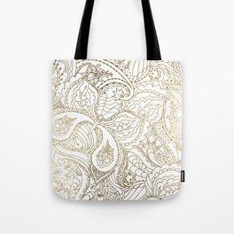 Elegant hand drawn white faux gold luxury floral Tote Bag