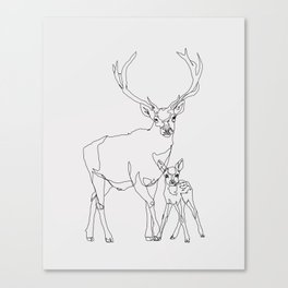 Bambi & Stag Canvas Print