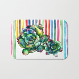 Rainbow Succulents - pencil & watercolor illustration Bath Mat