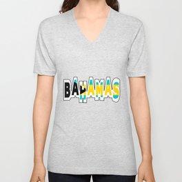 Bahamas Font with Bahamian Flag Unisex V-Neck