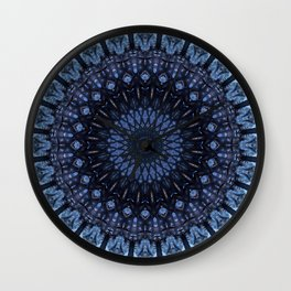 Dark and light blue mandala Wall Clock