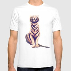 Zen Tiger  MEDIUM White Mens Fitted Tee