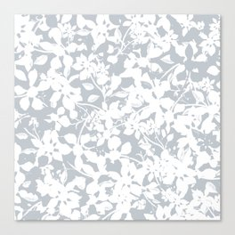 White and Grey Botanical Silhouette Pattern - Broken but Flourishing Canvas Print