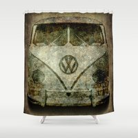 vw bus Shower Curtains featuring VW Micro Bus  by BruceStanfieldArtist illustrator
