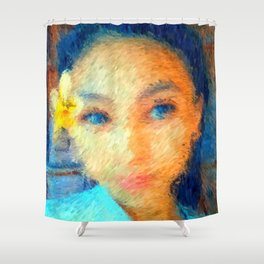 A Girl with Plumeria Flower Shower Curtain