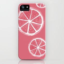 Pink Grapefruit Watercolour Fruit Illustrated Pattern iPhone Case