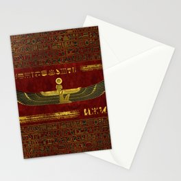 Golden Egyptian God Ornament on red leather Stationery Cards