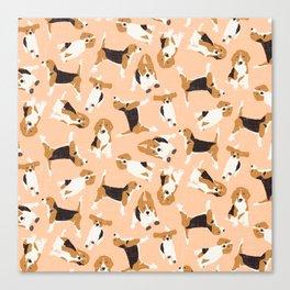 beagle scatter peach Canvas Print