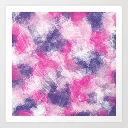 Pink, Purple and White Pencil Abstract Art Print