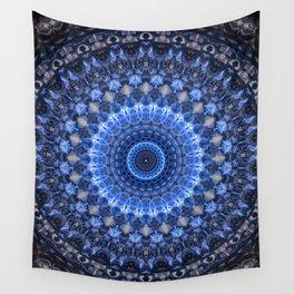 Glowing mandala in blue tones Wall Tapestry