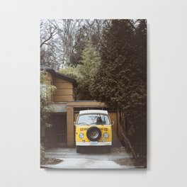 Yellow Van Ready For Road Metal Print