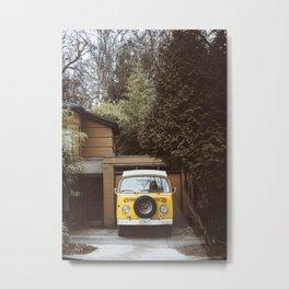 Yellow Van Ready For Road Metal Print
