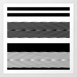 Black and white abstract striped pattern Art Print