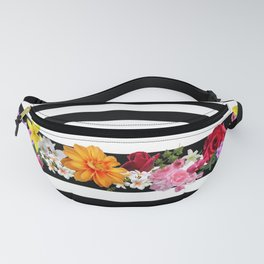 flowers on black and white stripes Fanny Pack