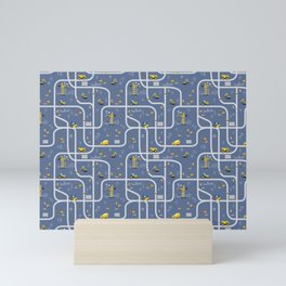 Under Construction Digger Vehicles Blue Pattern Mini Art Print