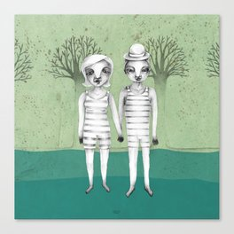 gymnast couple in the forest Canvas Print