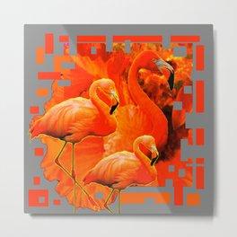 THREE ORANGE-YELLOWISH FLAMINGOS RED ART DECO Metal Print