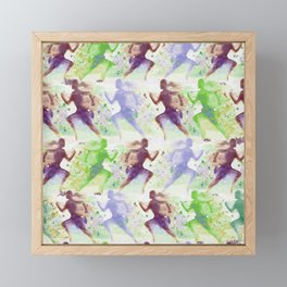 Watercolor women runner pattern Brown green blue Framed Mini Art Print