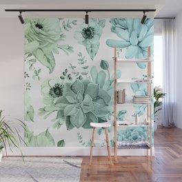 Simply Succulent Garden in Turquoise Green Blue Gradient Wall Mural