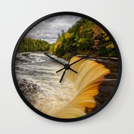 TAHQUAMENON FALLS MICHIGAN AUTUMN LANDSCAPE Wall Clock