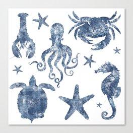 Delft Blue nautical Marine Life pattern, coastal beach Canvas Print