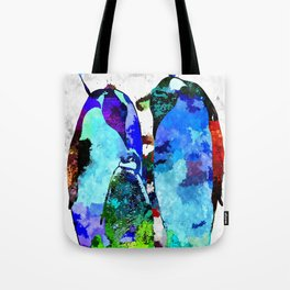 Penguin Family Grunge Tote Bag